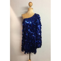 Diamond Cut Sequin Flair Bat Wing Off The Shoulder Dress Royal Blue