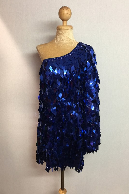 Diamond Cut Sequin Flair Bat Wing Off The Shoulder Dress Royal Blue