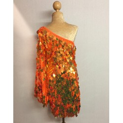 Diamond Cut Sequin Flair Bat Wing Off The Shoulder Dress Orange