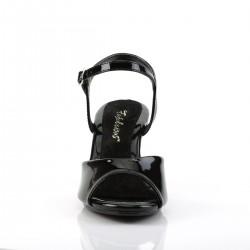 Belle 309 Strap Sandal Black Patent Fabulicious