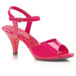 Pleaser Belle 309 Strap Sandal Patent Hot Pink