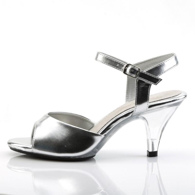 Pleaser Belle 309 Strap Sandal Silver