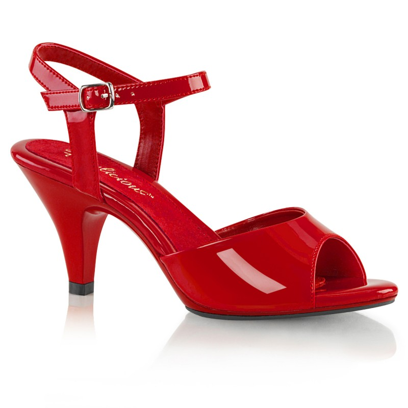 Pleaser Belle 309 Strap Sandal Red Patent