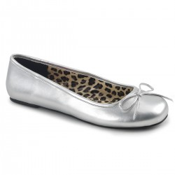 Pleaser Pink Label Anna 01 Flat Shoe Silver