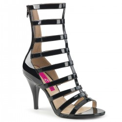 Pleaser Dream 438 Strappy Ankle Boot Black Patent