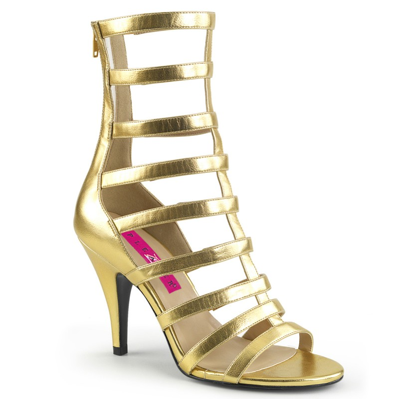 Pleaser Dream 438 Strappy Ankle Boot Sandal Gold