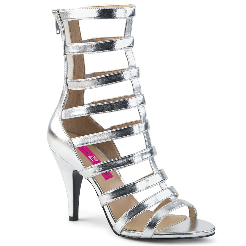 Pleaser Dream 438 Strappy Ankle Boot Sandal Silver