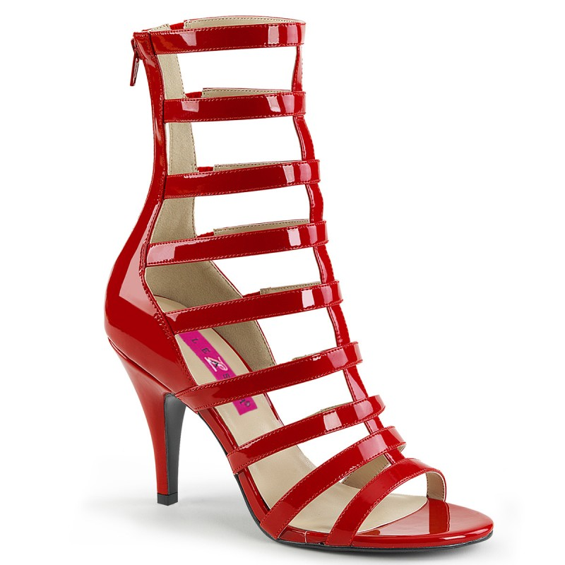 Pleaser Dream 438 Strappy Ankle Boot Sandal Red