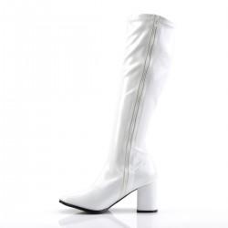 Gogo 300 Stretch Boot White Patent Funtasma