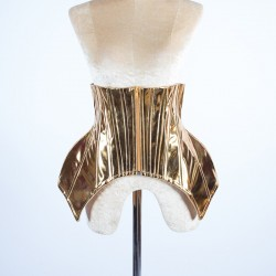 Metallic Under Bust Hip Corset with Lace Up Back Gold