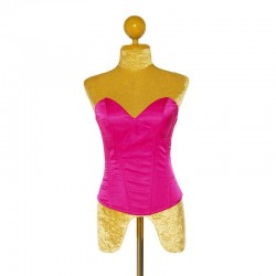 Hot Pink Satin Corset with Side Zip Closure and Lace Up Back
