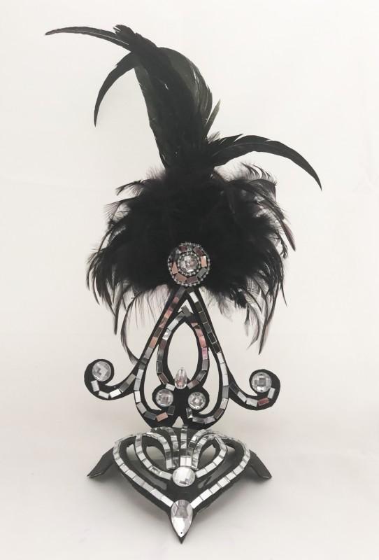 Black Mini Showgirl Feathered Headpiece
