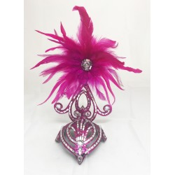 Hot Pink & Silver Mini Showgirl Feathered Headpiece