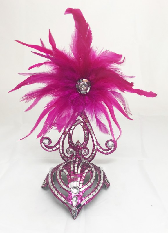 Mini Showgirl Feathered Headpiece Hot Pink