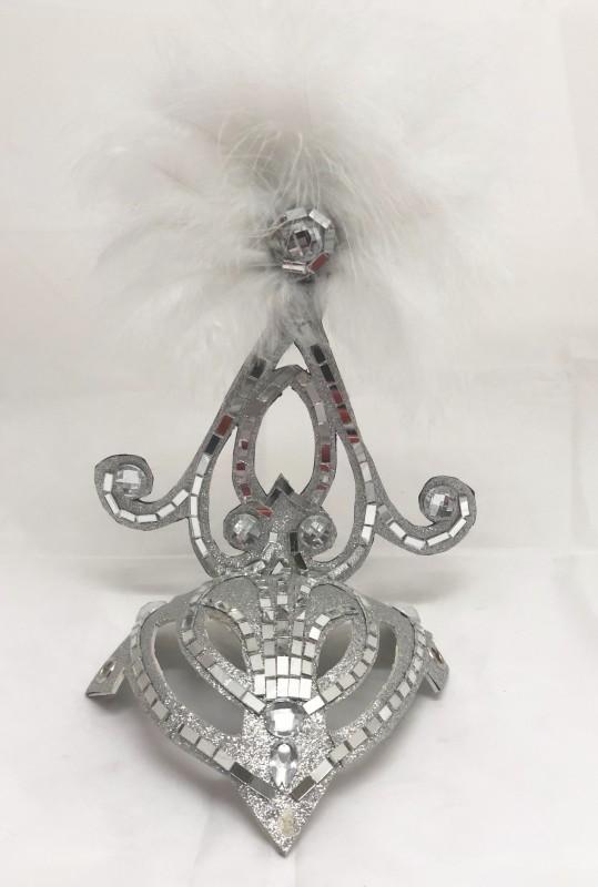 Silver & White Mini Showgirl Feathered Headpiece