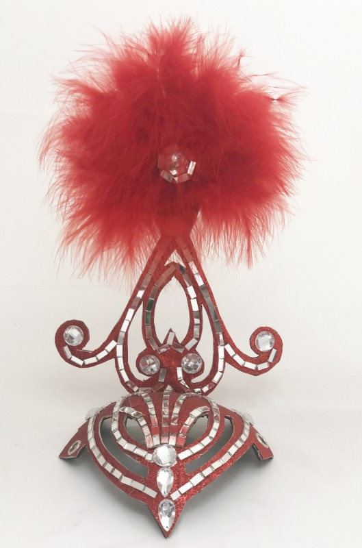 Mini Showgirl Feathered Headpiece Red