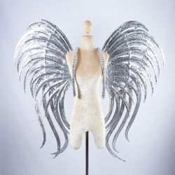 Silver Glitter Wings with AB Stone Trim
