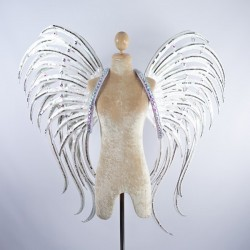 Pearl White Glitter Wings with AB Stone Trim