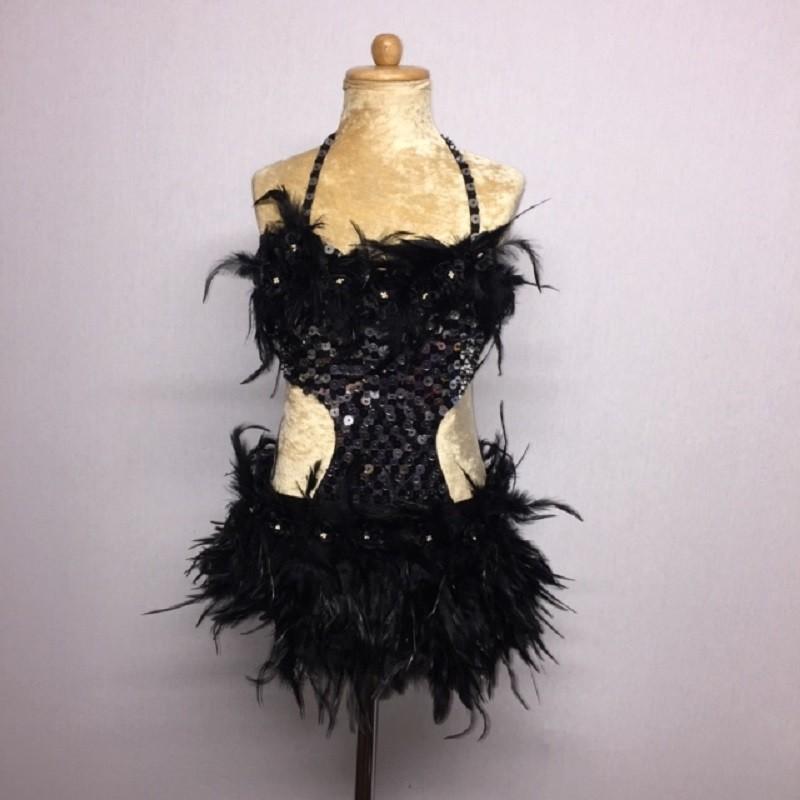 Simone Sequin Feather Flower Leotard and Skirt Set Black
