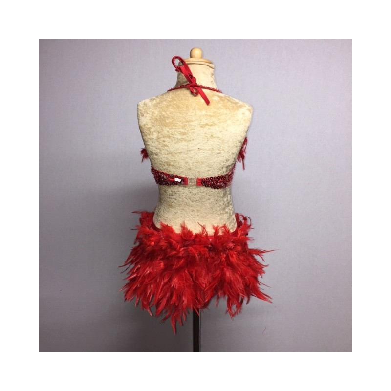 Simone Sequin Feather Flower Leotard and Skirt Set Red