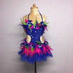 Simone Sequin Feather Flower Leotard and Skirt Set - Royal Blue / Hot Pink / Green