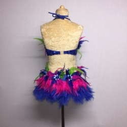 Simone Sequin Feather Flower Leotard and Skirt Set Royal Blue Hot Pink Green