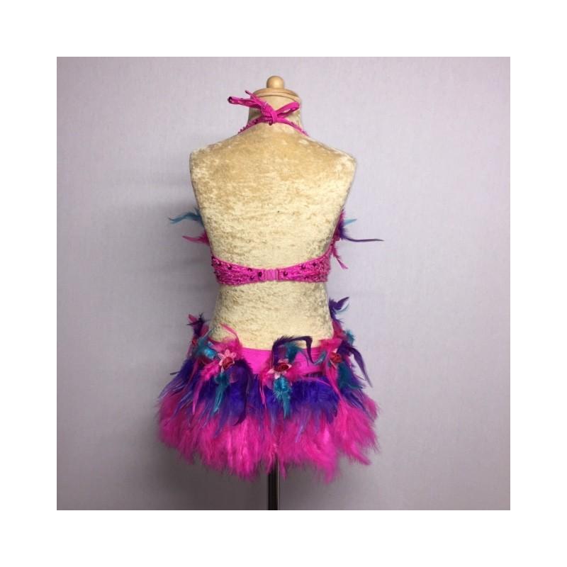Simone Sequin Feather Flower Leotard and Skirt Set Hot Pink Aqua Purple