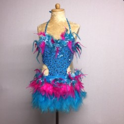 Simone Sequin Feather Flower Leotard and Skirt Set - Aqua / Hot Pink