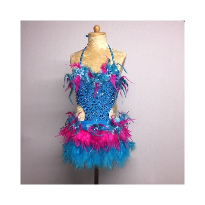 Simone Sequin Feather Flower Leotard and Skirt Set Aqua Hot Pink