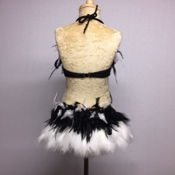 Simone Sequin Feather Flower Leotard and Skirt Set Black and White