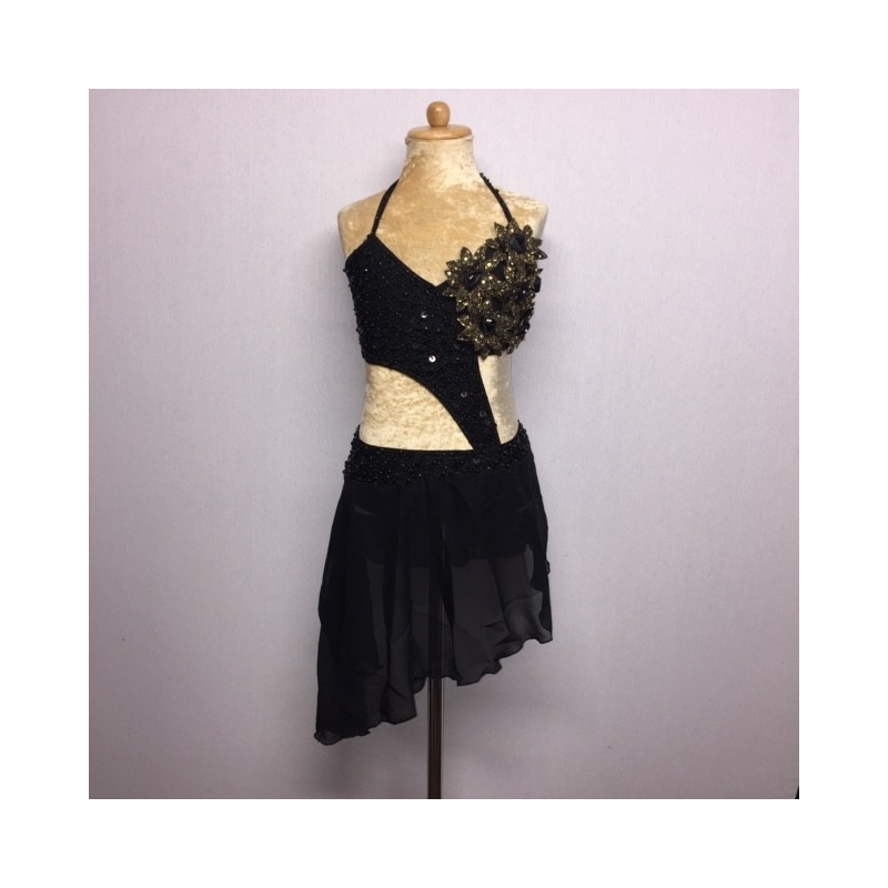 Candy Flower Chiffon Dress Black and Gold