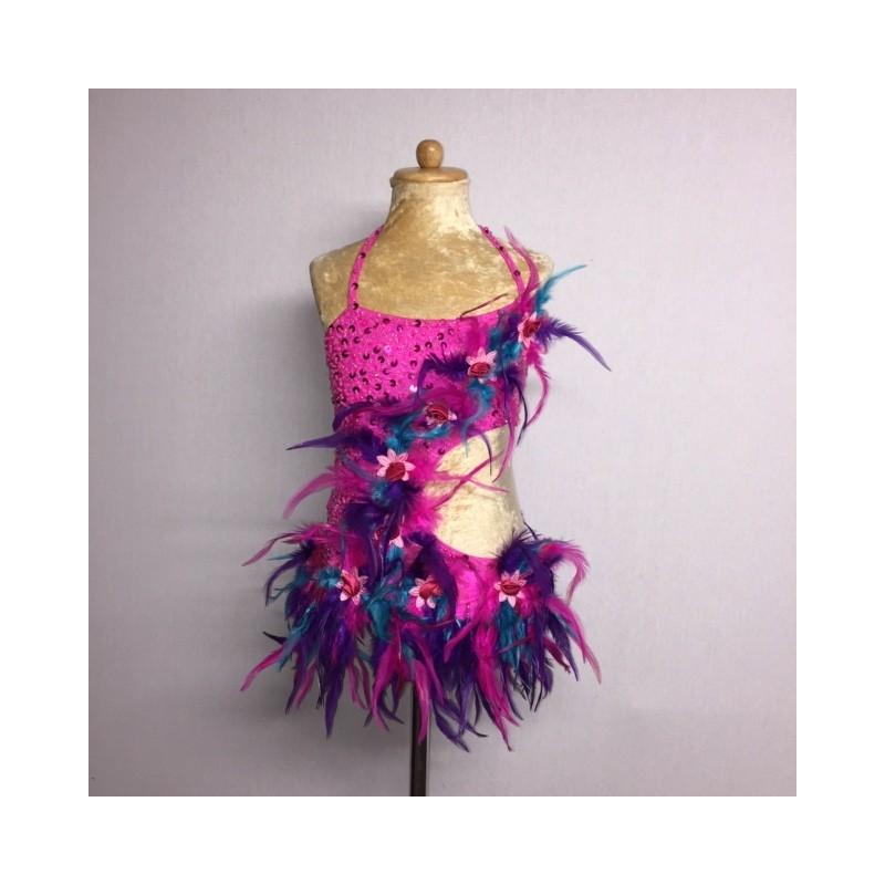 Lucy Flower Leotard Hot Pink Aqua Purple