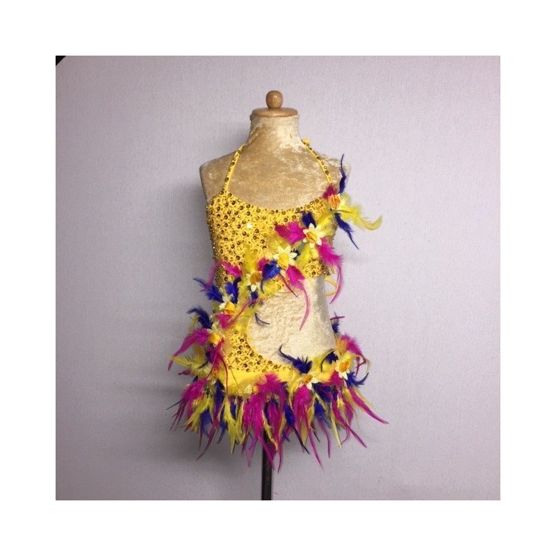 Lucy Flower Leotard Yellow Hot Pink Royal Blue