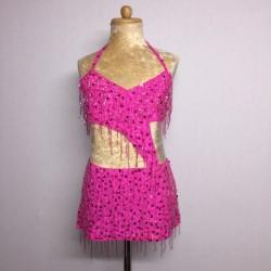 Candy Beaded Leotard with Fringe Aline Skirt - Hot Pink