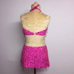 Candy Beaded Leotard with Fringe Aline Skirt Hot Pink