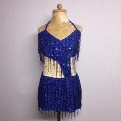 Candy Beaded Leotard with Fringe Aline Skirt Royal Blue