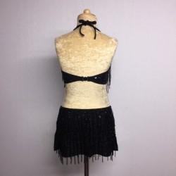 Candy Beaded Leotard with Fringe Aline Skirt Black