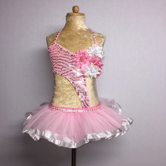 Candy Flower Sequin Leotard with Tu Tu Light Pink and Silver