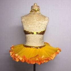 Candy Flower Sequin Leotard and Tu Tu Skirt Orange and Yellow