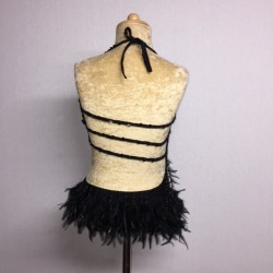 Lucy Diamante Feather Leotard Black