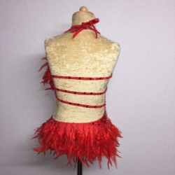 Lucy Diamante Feather Leotard Red