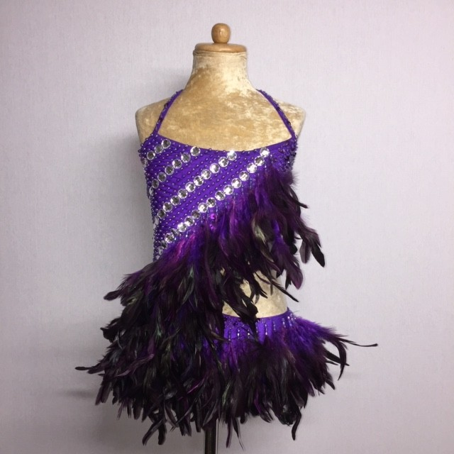 Lucy Diamante Feather Leotard Dark Purple