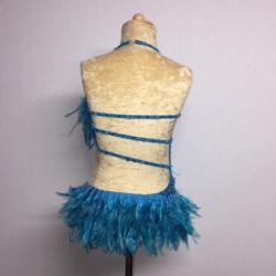 Lucy Diamante Feather Leotard Aqua