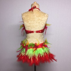 Simone Sequin Feather Flower Leotard and Skirt Set Red Yellow Green