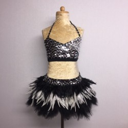 USA Crop Top and Feather Skirt Set Black Silver and White