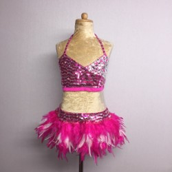 USA Crop Top and Feather Skirt Set Hot Pink White