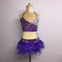 USA Crop Top and Feather Skirt Set Dark Purple