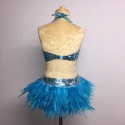 USA Crop Top and Feather Skirt Set Aqua
