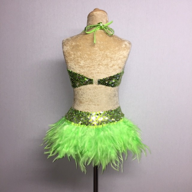 USA Crop Top and Feather Skirt Set Lime Green