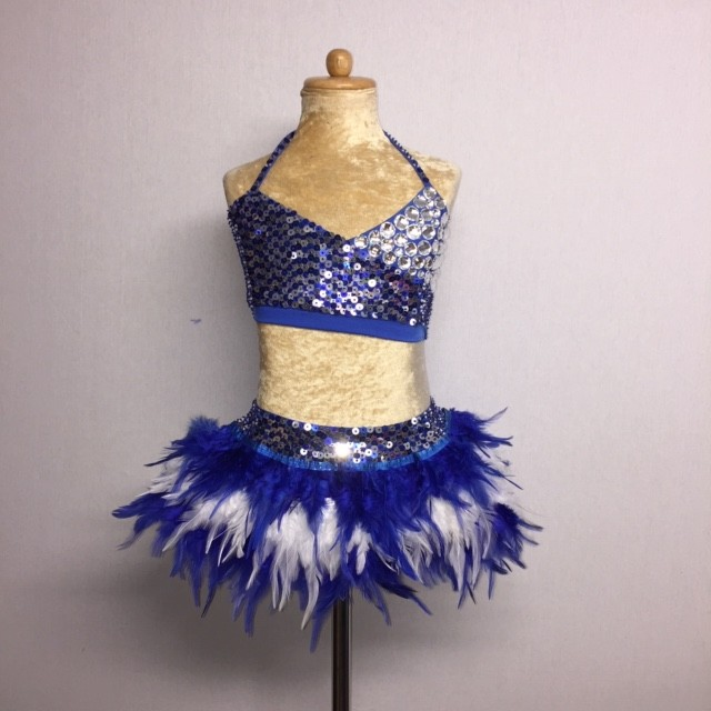 USA Crop Top and Feather Skirt Set Royal Blue and White
